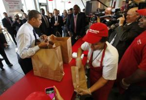 President Obama Picks up Some Burgers For the Crew