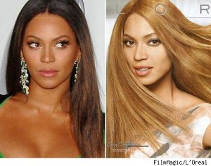 "The American Beyonce left, and the ""You're Worth It"" Beyonce from L'Oreal"