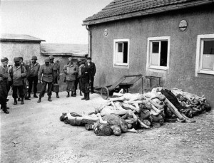 Members of the 183rd Engineers Combat Battalion, 8th Corps, Third Army at Buchenwald