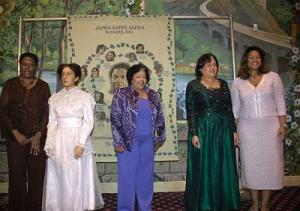 Members of Chicago-headquartered Alpha Kappa Alpha Sorority are suing to oust their president -- former Chicago Housing Authority comptroller Barbara McKinzie (center).