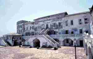 Main Bilding at Cape Coast Castle, the Largest slave castle in Africa