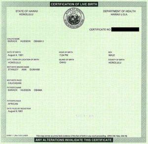 President Obama Birth Certificate
